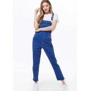 Forever 21 Pop and Play Blue Denim Overalls